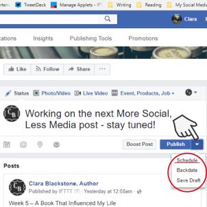 Screenshot of scheduling a Facebook post